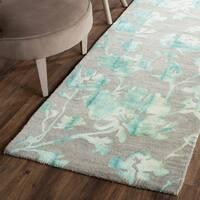 Safavieh Handmade Dip Dye Watercolor Vintage Grey/ Turquoise Wool Rug - 2'3 x 10'
