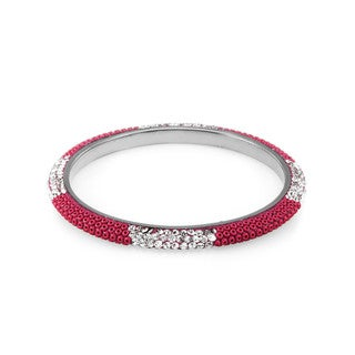 Sterling Silverplated Red Bead Clear Crystal Bangle