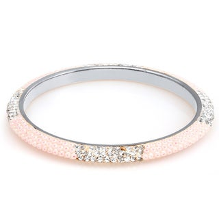 Sterling Silver Plated Light Pink Beads and Clear Crystals Bangle