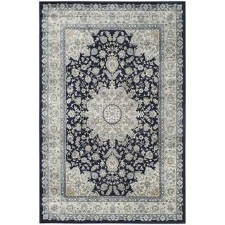 Safavieh Persian Garden Navy/ Light Blue Viscose Rug (4' x 5'7)