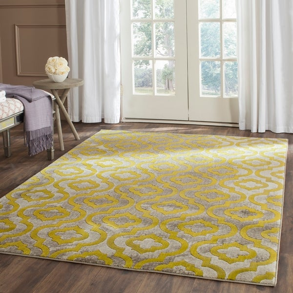 "Safavieh Porcello Contemporary Moroccan Light Grey/ Green Rug - 8'2"" x 11'"