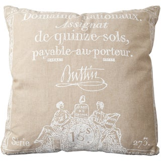Lothian 18-inch French Script Down or Poly Throw Pillow