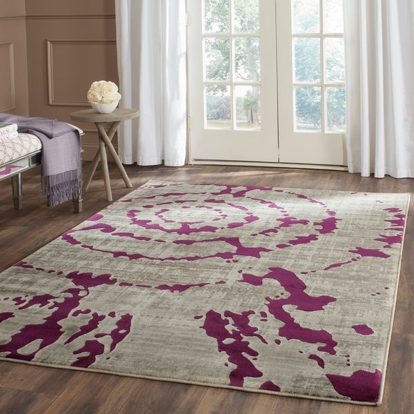 Safavieh Porcello Abstract Contemporary Light Grey/ Purple Rug - 8'2 x 11'