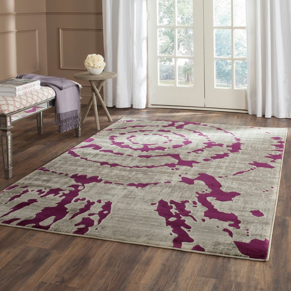 Safavieh Porcello Abstract Contemporary Light Grey/ Purple Rug - 8'2 x 11'