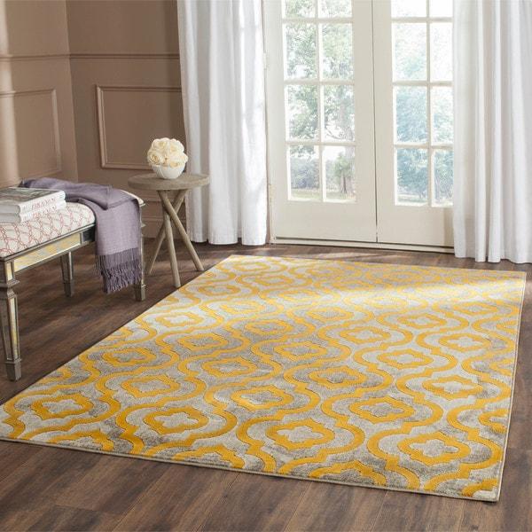 Safavieh Porcello Contemporary Moroccan Light Grey/ Yellow Rug (8'2 x 11')