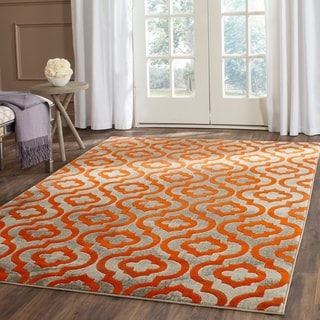 Safavieh Porcello Contemporary Geometric Light Grey/ Orange Rug (8'2 x 11')
