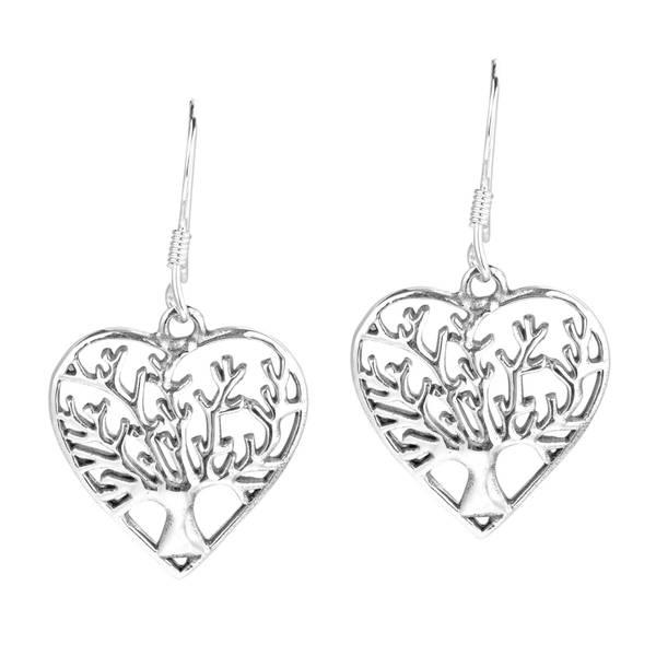 Handmade Romantic Heart Winter Tree of Life .925 Silver Earrings (Thailand)