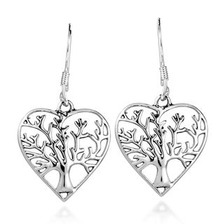 Handmade Romantic Heart Winter Tree of Life .925 Silver Earrings (Thailand)