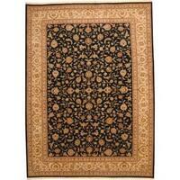 Handmade Herat Oriental Indo Wool/ Silk Tabriz Wool Rug  - 10' x 14' (India)
