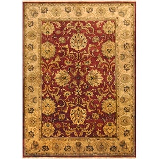 Herat Oriental Indo Hand-knotted Vegetable Dye Oushak Green Wool Rug (10' x 14')