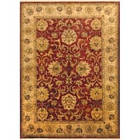 Herat Oriental Indo Hand-knotted Vegetable Dye Oushak Green Wool Rug (10' x 14') - 10' x 14'