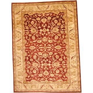 Herat Oriental Afghan Hand-knotted Vegetable Dye Ziegler Wool Rug (9'8 x 13'3)