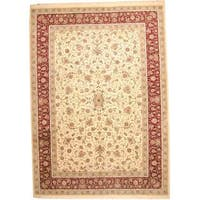Handmade Herat Oriental Indo Wool/ Silk Tabriz Wool Rug  - 10'3 x 14'4 (India)