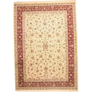Herat Oriental Indo Hand-knotted Wool/ Silk Tabriz Wool Rug (10'3 x 14'4)