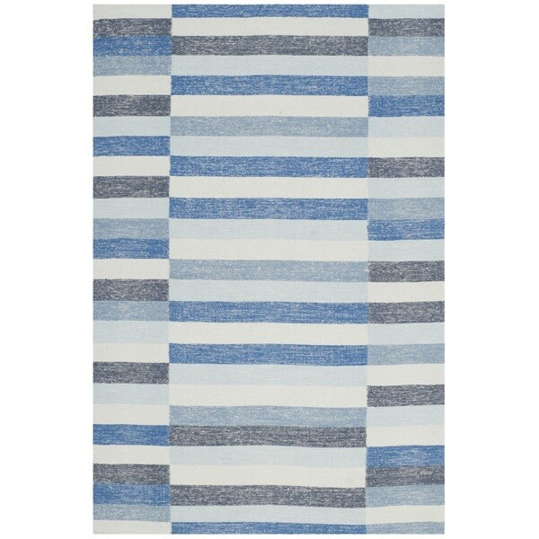 Safavieh Hand-Woven Striped Kilim Blue Wool Rug - 8' x 10'