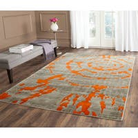 Safavieh Porcello Abstract Contemporary Light Grey/ Orange Rug (8'2 x 11') - 8'2 x 11'