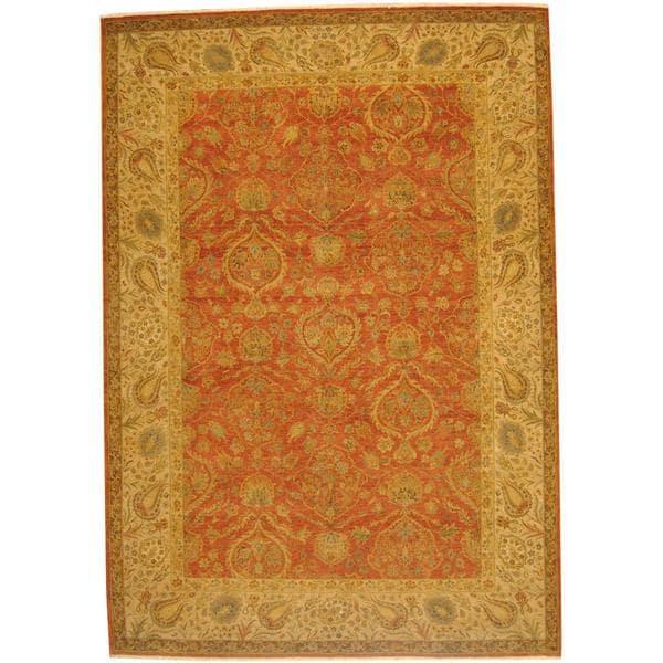 Handmade Herat Oriental Indo Vegetable Dye Oushak Wool Rug (Afghanistan) - 10' x 14'6