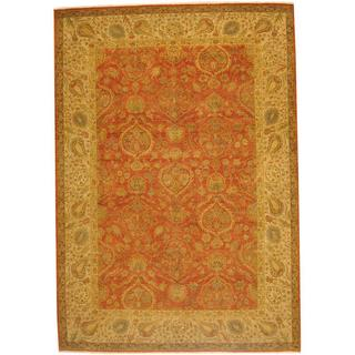 Herat Oriental Indo Hand-knotted Vegetable Dye Oushak Wool Rug (10' x 14'6)