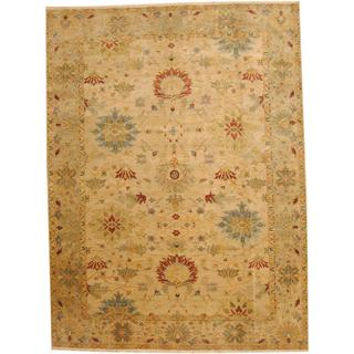 Herat Oriental Indo Hand-knotted Vegetable Dye Oushak Wool Rug (10' x 14')