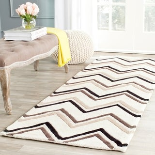 Safavieh Hand-Tufted Cambridge Ivory/ Black Wool Rug (2'6 x 12')
