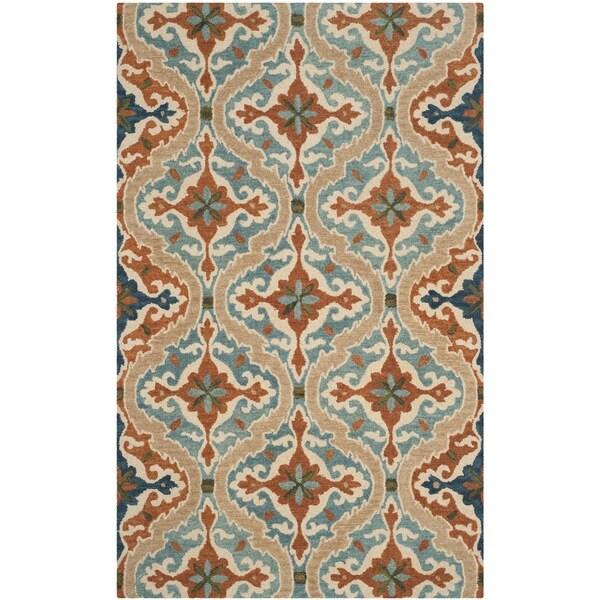 Safavieh Handmade Roslyn Blue/ Beige Wool Rug - 8' x 10'