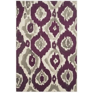 Safavieh Porcello Abstract Ogee Ivory/ Purple Rug (4'1 x 6')