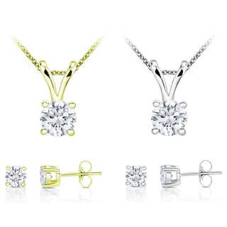 10k Gold 1ct TDW Round Diamond Solitaire Jewelry Set (I-J, I2-I3)