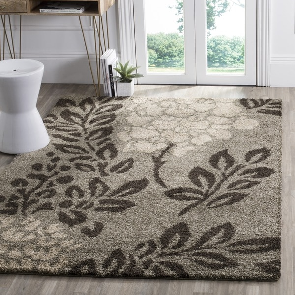 Safavieh Ultimate Shag Smoke/ Dark Brown Floral Area Rug - 4' Square