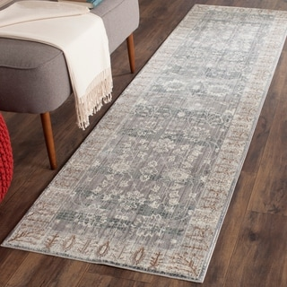 Safavieh Valencia Dark Grey/ Light Grey Distressed Silky Polyester Rug (2'3 x 8')