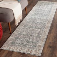 Safavieh Valencia Dark Grey/ Light Grey Distressed Silky Polyester Rug - 2'3 x 8'