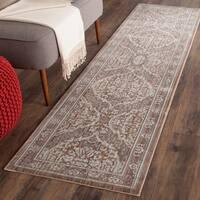 Safavieh Valencia Grey/ Brown Distressed Silky Polyester Rug - 2'3 x 8'