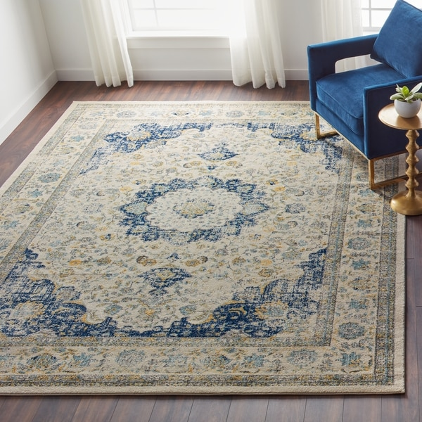 5d2ac5ba Shop Safavieh Evoke Ivory/ Blue Rug - 8' x 10' - On Sale - Free ...