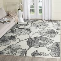 Safavieh Handmade Dip Dye Watercolor Vintage Ivory/ Light Grey Wool Rug (4' x 6')