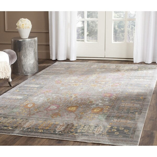 Safavieh Valencia Grey/ Multi Distressed Silky Polyester Rug - 5' x 8'