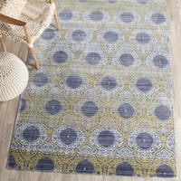 Safavieh Valencia Lavender/ Gold Distressed Silky Polyester Rug - 5' x 8'
