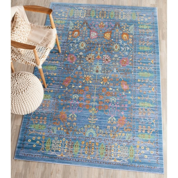 Safavieh Valencia Blue/ Multi Distressed Silky Polyester Rug - 5' x 8'
