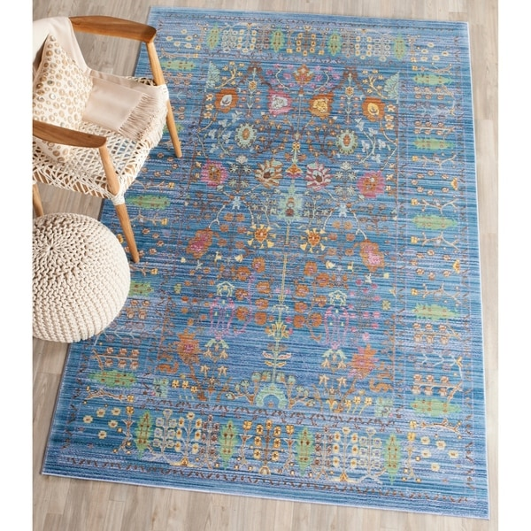 Shop Safavieh Valencia Blue Multi Distressed Silky