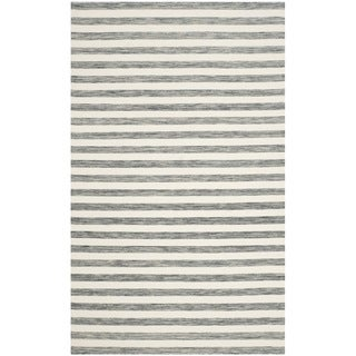 Safavieh Hand-Woven Dhurries Grey/ Ivory Wool Rug (5' x 8')