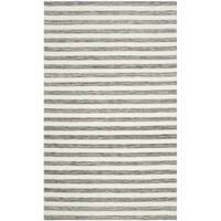 Safavieh Hand-Woven Dhurries Grey/ Ivory Wool Rug - 5' x 8'