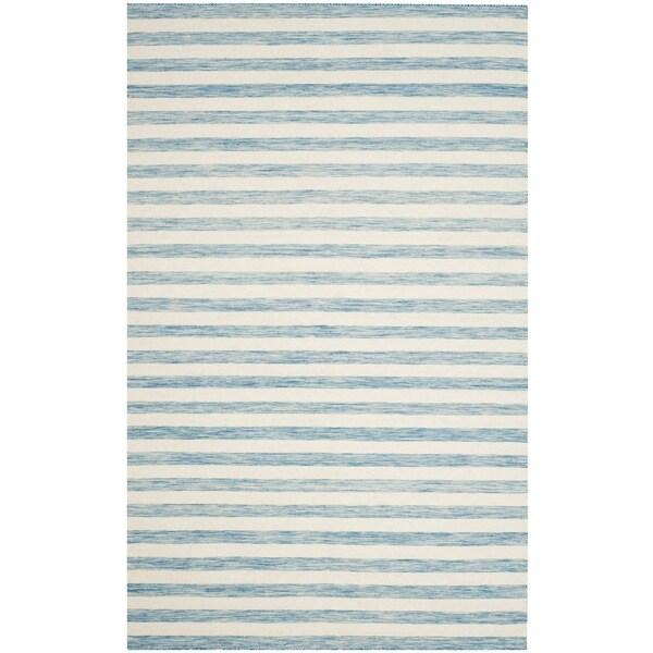 Safavieh Hand-Woven Dhurries Aqua/ Ivory Wool Rug (5' x 8')