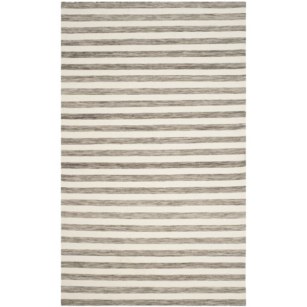 Safavieh Hand-Woven Dhurries Brown/ Ivory Wool Rug - 5' x 8'