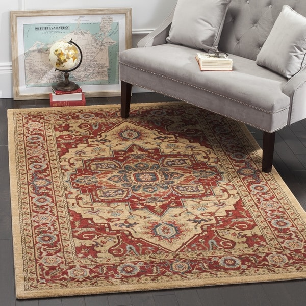 Safavieh mahal traditional grandeur red natural rug 8 39 x for Rug color for red couch