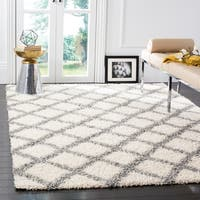 Safavieh Dallas Shag Ivory/ Grey Trellis Large Area Rug (10' x 14') - 10' x 14'