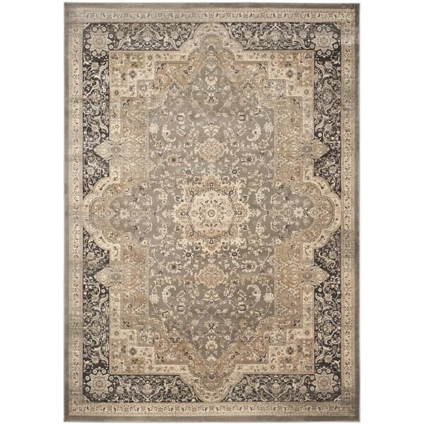 6 X9 Handmade Persian Wool Silk Area Rug Oriental Design: Safavieh Vintage Oriental Taupe/ Black Distressed Rug