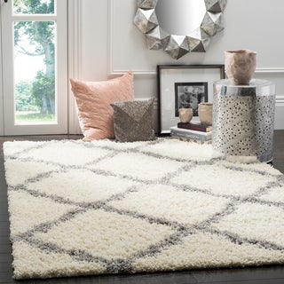 Safavieh Dallas Shag Ivory/ Grey Trellis Large Area Rug (10' x 14')