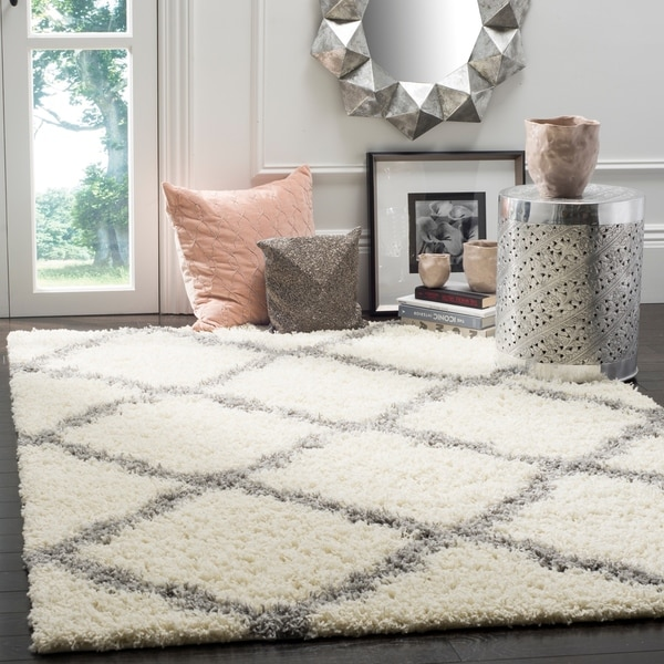 Safavieh Dallas Shag Ivory/ Grey Trellis Large Area Rug - 10' x 14'