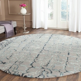 Safavieh Handmade Dip Dye Watercolor Vintage Grey/ Charcoal Wool Rug (7' Round)