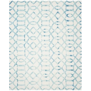 Safavieh Handmade Dip Dye Watercolor Vintage Ivory/ Turquoise Wool Rug (9' x 12')