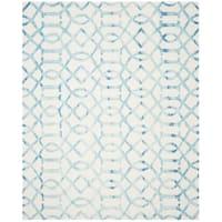 Safavieh Handmade Dip Dye Watercolor Vintage Ivory/ Turquoise Wool Rug - 9' x 12'