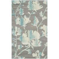 Safavieh Handmade Dip Dye Watercolor Vintage Grey/ Turquoise Wool Rug - 3' x 5'